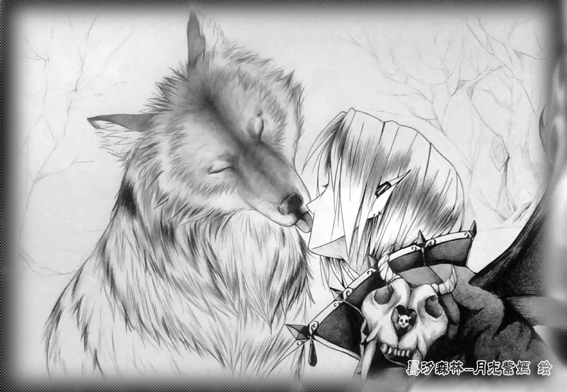 微信素描狼头像